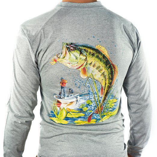 All american fishing performance dri fit upf fishing shirt for Bass fishing hoodies